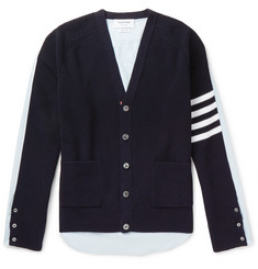 Thom Browne Striped Panelled Cotton Cardigan