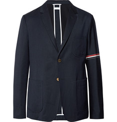 Thom Browne Midnight-Blue Slim-Fit Unstructured Wool and Cotton-Blend Blazer