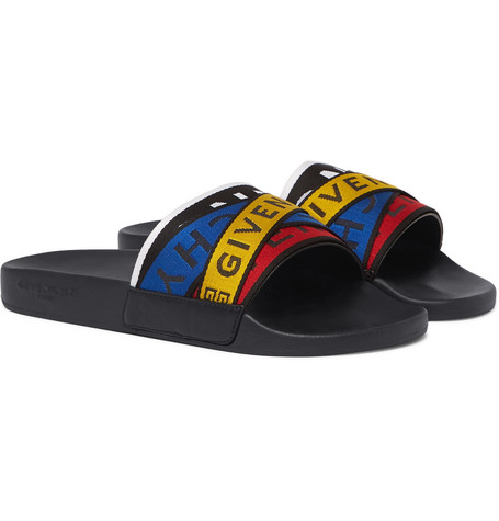 Logo-detailed Webbing-trimmed Rubber Slides