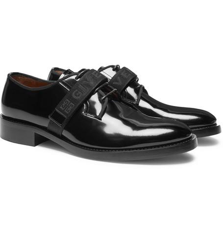 Cruz Logo-jacquard Patent-leather Derby Shoes - Black