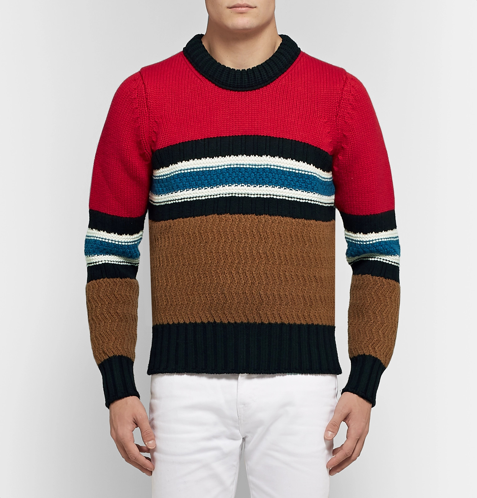 And Blend Burberry Sweater Wool Cashmere Striped qqwT0g
