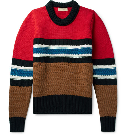 Burberry – Striped Wool And Cashmere-blend Sweater – Red