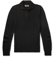 Burberry Slim-Fit Check-Trimmed Merino Wool Half-Zip Sweater