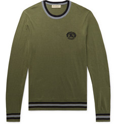 Burberry Slim-Fit Logo-Embroidered Cotton and Silk-Blend Sweater