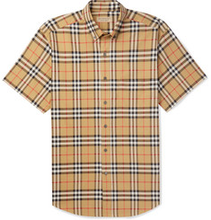 Burberry Button-Down Collar Checked Cotton-Poplin Shirt