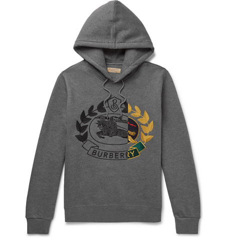 7757f919d9ba BurberryLogo-Embroidered Mélange Fleece-Back Cotton-Blend Jersey Hoodie
