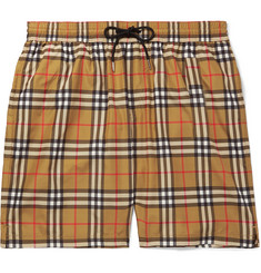 Burberry Long-Length Wide-Leg Checked Swim Shorts
