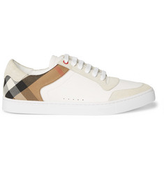 Burberry Leather, Suede and Checked Cotton Sneakers