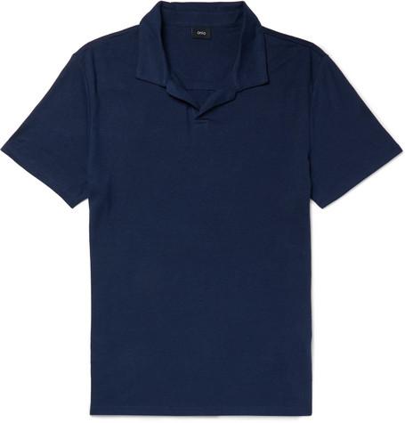 ONIA Slub Linen-Blend Polo Shirt in Navy
