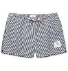Thom Browne - Mid-Length Striped Seersucker Swim Shorts