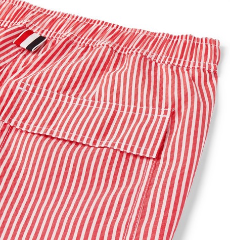 e4e7fdeca6 Thom Browne Snap-Front Striped Seersucker Swim Short In Red | ModeSens