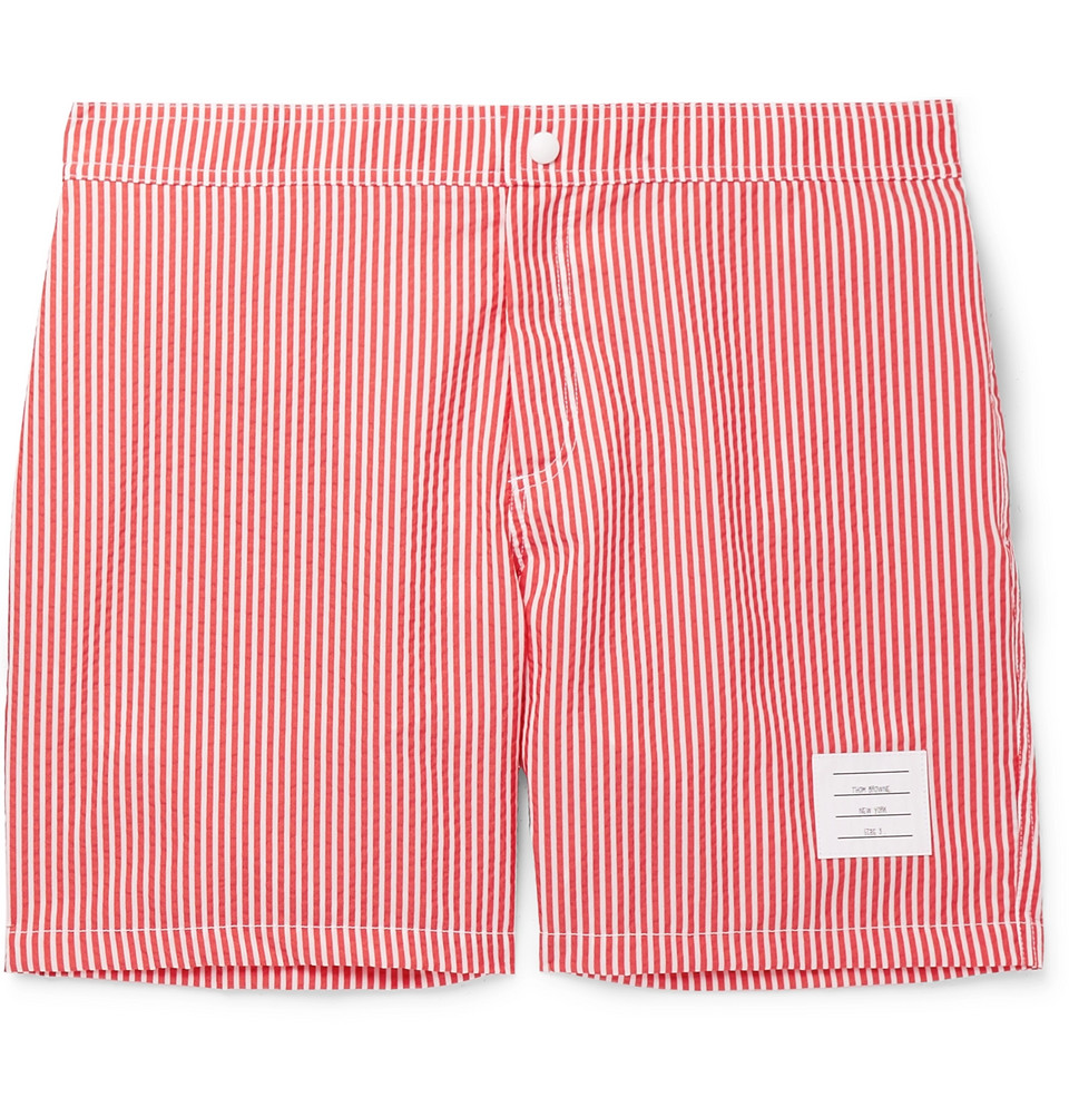 Mid-length Striped Seersucker Swim Shorts - Red