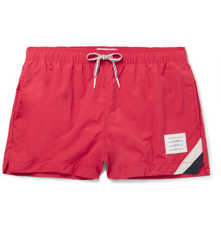Thom Browne – Short-length Striped Swim Shorts – Red