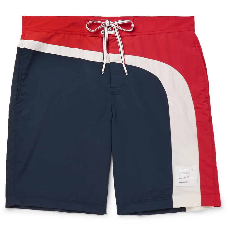 Long-length Striped Swim Shorts - Navy
