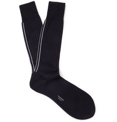 톰 브라운 Thom Browne Striped Ribbed Cotton Socks,Navy