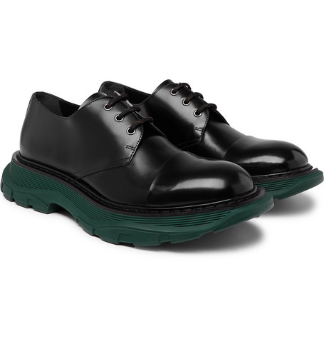 Exaggerated-sole Leather Derby Shoes - Black