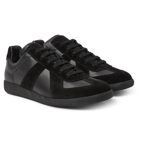 Replica Leather And Suede Sneakers - Black