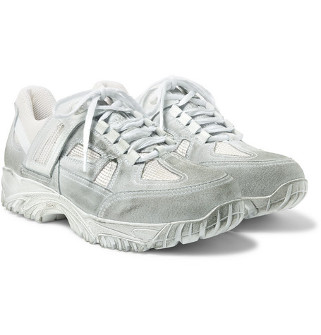 Distressed Leather, Suede And Mesh Sneakers - White
