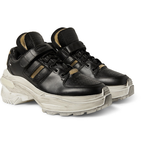 Distressed Leather Sneakers - Black