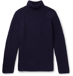 Albam Ribbed Wool Mock-Neck Sweater