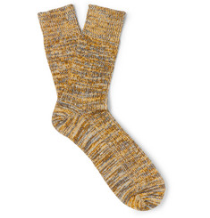 Albam Mélange Cotton-Blend Socks