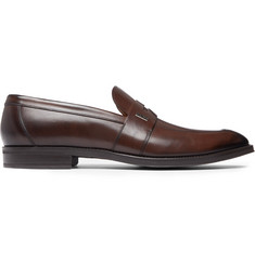 Hugo Boss Coventry Burnished-Leather Penny Loafers