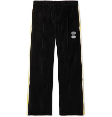 Logo-intarsia Cotton-blend Velour Sweatpants