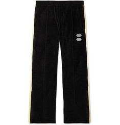 Off-White Logo-Intarsia Cotton-Blend Velour Sweatpants