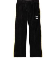 오프화이트 Off-White Logo-Intarsia Cotton-Blend Velour Sweatpants,Black