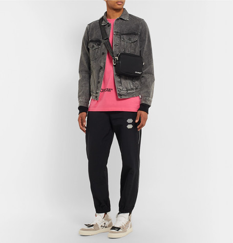 Slim Fit Panelled Denim And Printed Cotton Jersey Jacket by Off White