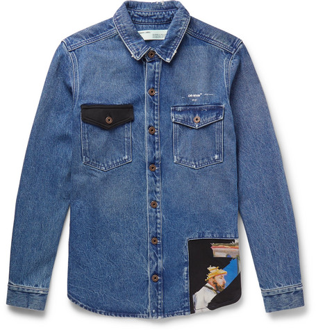 Off-White Cotton-Panelled Distressed Denim Western Shirt