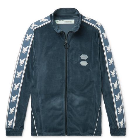 Logo-intarsia Cotton-blend Velour Track Jacket