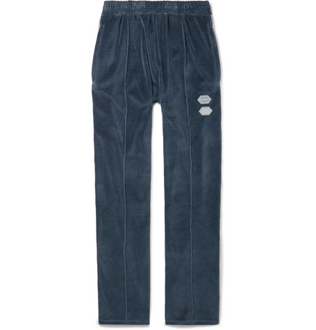 Logo-intarsia Cotton-blend Velour Track Pants