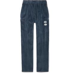 오프화이트 Off-White Logo-Intarsia Cotton-Blend Velour Track Pants,Blue