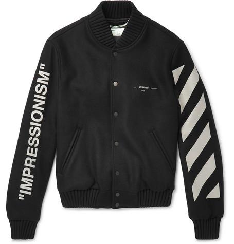 Printed Melton Virgin Wool-blend Bomber Jacket