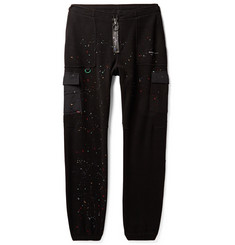 Off-White Tapered Paint-Splattered Shell-Trimmed Fleece Sweatpants