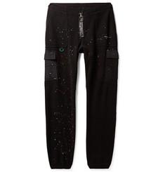 오프화이트 Off-White Tapered Paint-Splattered Shell-Trimmed Fleece Sweatpants,Black