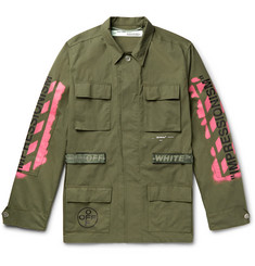 Off-White Logo-Print Cotton-Blend Field Jacket