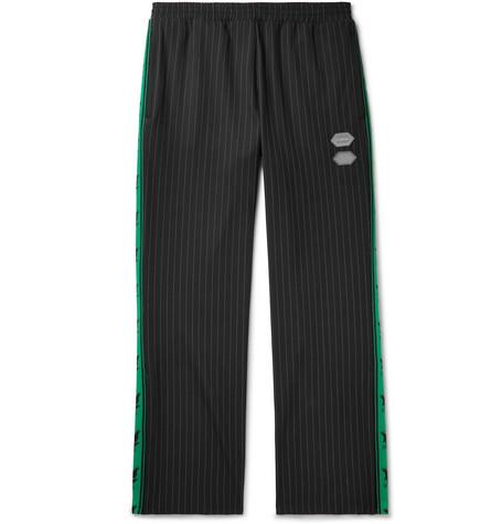 Logo-trimmed Pinstriped Stretch-jersey Sweatpants