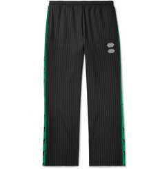 Off-White Logo-Trimmed Pinstriped Stretch-Jersey Sweatpants