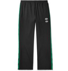 오프화이트 Off-White Logo-Trimmed Pinstriped Stretch-Jersey Sweatpants,Black