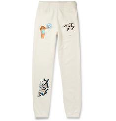 오프화이트 Off-White Dondi Slim-Fit Printed Cotton-Jersey Sweatpants,White