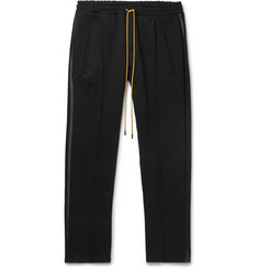 Rhude Slim-Fit Tapered Cropped Satin-Trimmed Stretch-Jersey Sweatpants