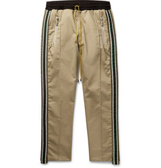 Rhude Traxedo Tapered Webbing-Trimmed Cotton-Twill Drawstring Trousers