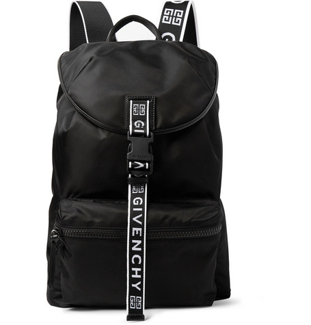Logo Jacquard And Leather Trimmed Nylon Backpack by Givenchy