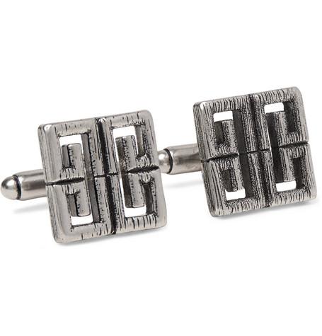 Givenchy – Logo Burnished Silver-tone Cufflinks – Silver