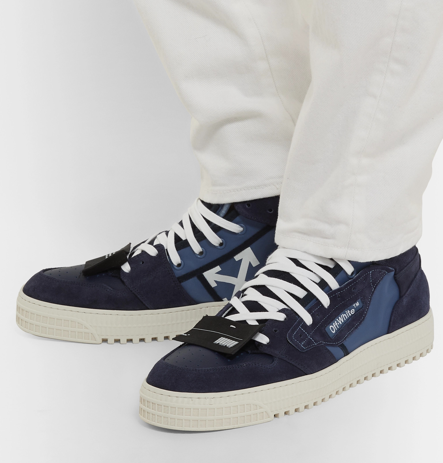 timeless design 52e64 c097c Off-White3.0 Off-Court Suede, Leather and Canvas High-Top Sneakers