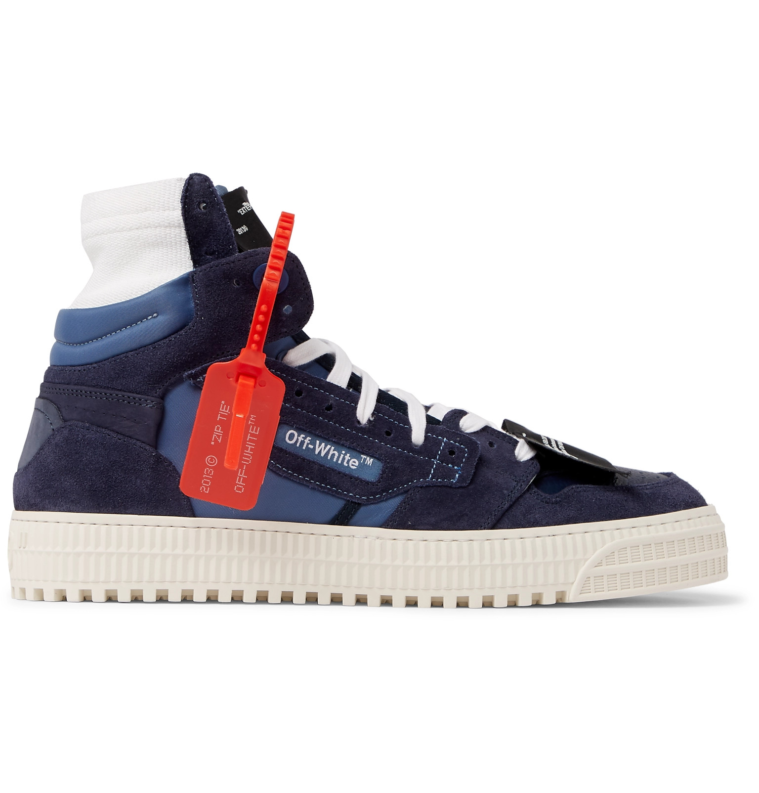 purchase cheap 01130 3cb58 Off-White - 3.0 Off-Court Suede, Leather and Canvas High-Top Sneakers