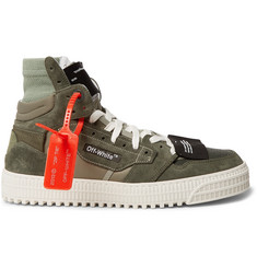 Off-White Off-Court Leather and Suede High-Top Sneakers