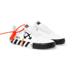 Off-White Suede-Trimmed Printed Canvas Sneakers